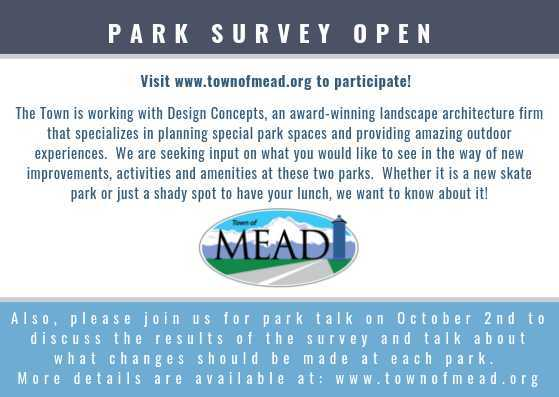 Town of Mead Parks Survey NOW OPEN!
